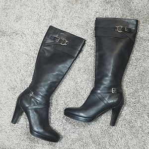 Cole Haan Nike Air Black Leather Tall Heel Boots
